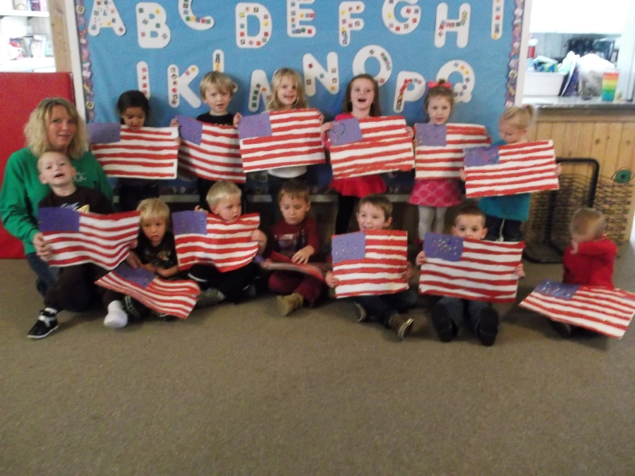 Preschool students made American Flags