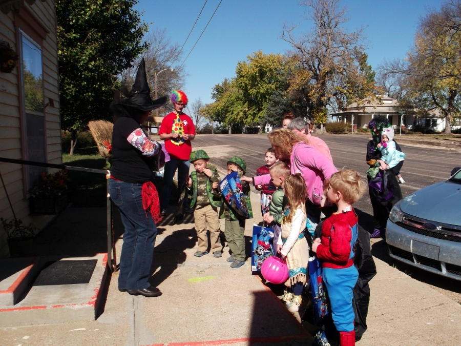 Preschool students trick-or-treating