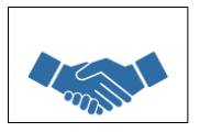 Blue hands handshake