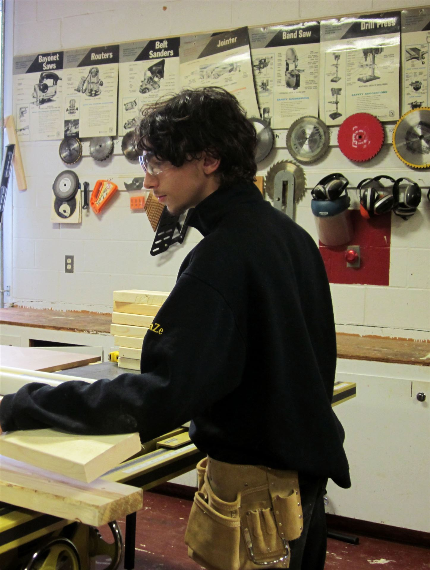 Carpentry student with materials