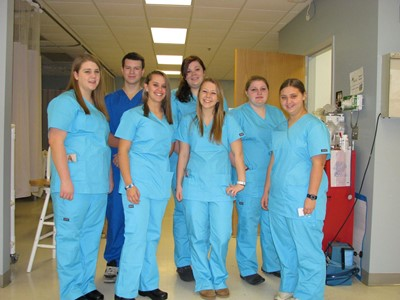 Health Sciences students in their uniforms for clinicals