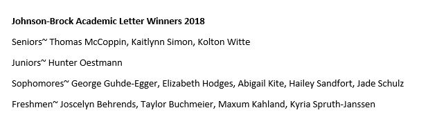2017-2018 JB Academic Letters Winners