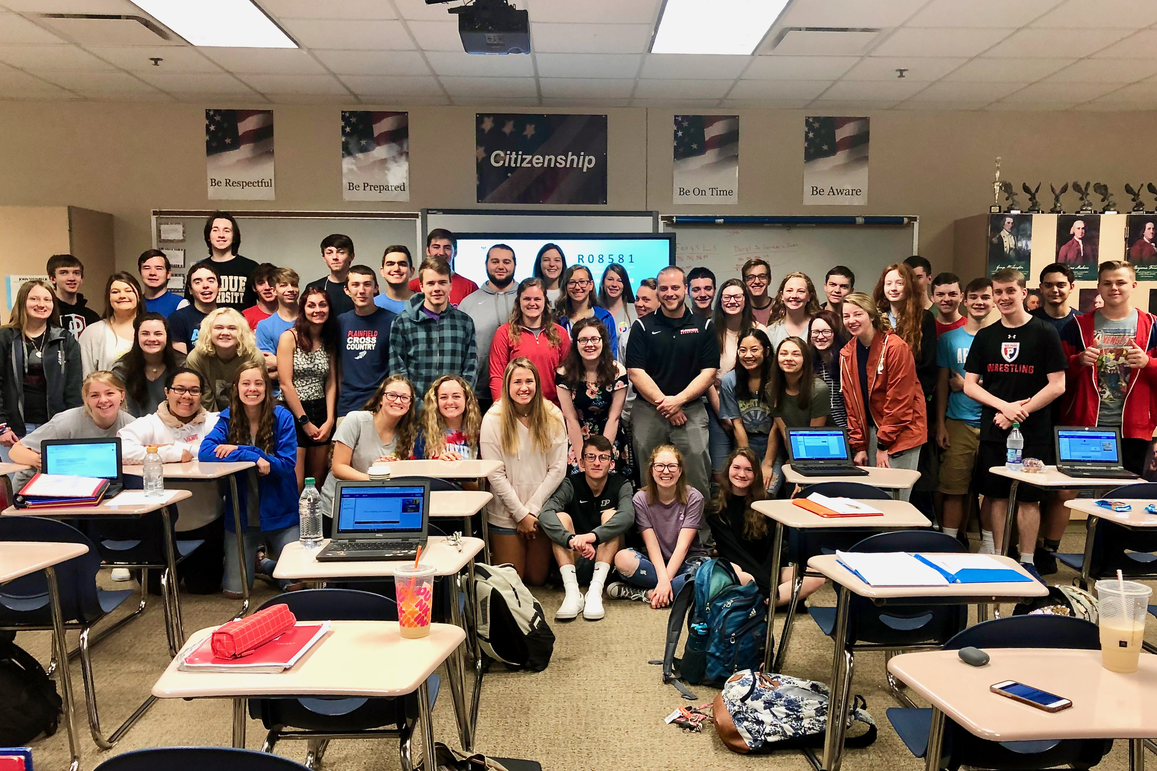 2020 Teacher of the Year Adam Ferguson, shown here with his morning CHAP class as they learned the news.