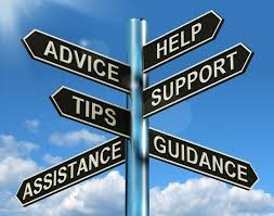 Sign post with signs that read advice, help, tips, support, assistance, guidance