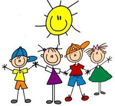 Drawing of stick figure kids underneath a smiling sun