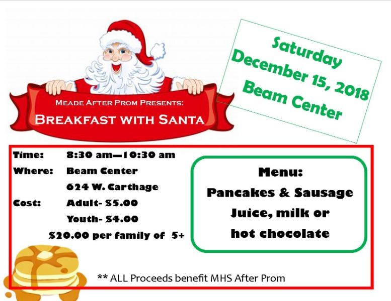 Breakfast with Santa is on Saturday December 15th, 2018