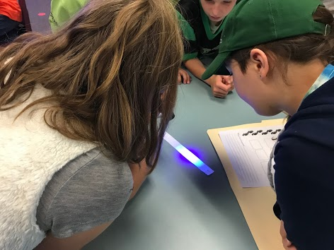 Students looking at something with a blacklight
