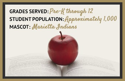 Grades Served: Pre-K through 12. Student Population: Approximately 1,000. Mascot: Marietta Indians