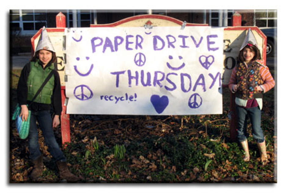 Paper Drive sign with Students