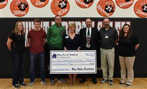 Pictured L to R: Athletic Association Officer Jamie Harrison, Logan Cole, Athletic Director Jake Vitt, MRH Community Relations VP Tammy Allison, Superintendant Kraig Hissong, MRH Athletic Training Supervisor Ed Wisner, and WL-S Athletic Trainer Nicki Clark