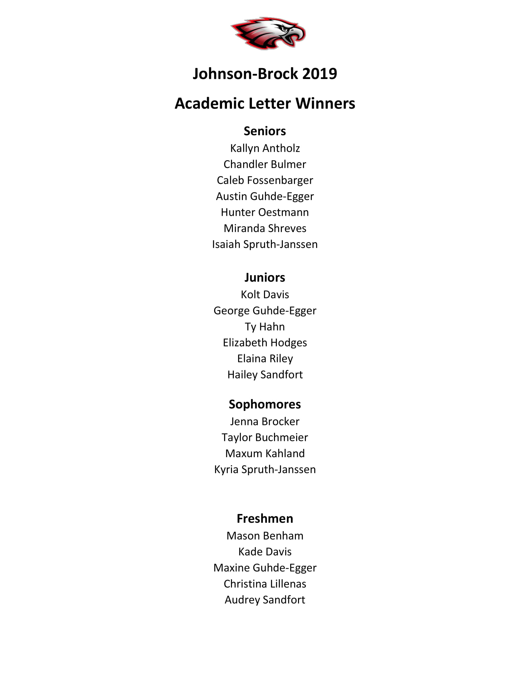 Academic Letter Winners - 2019