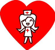 A photo of a nurse with a red heart