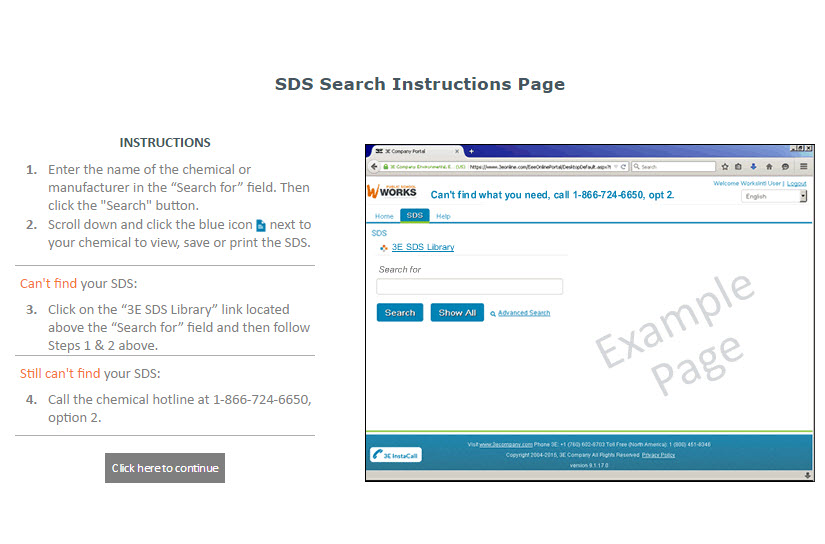 SDS Search Instructions Page