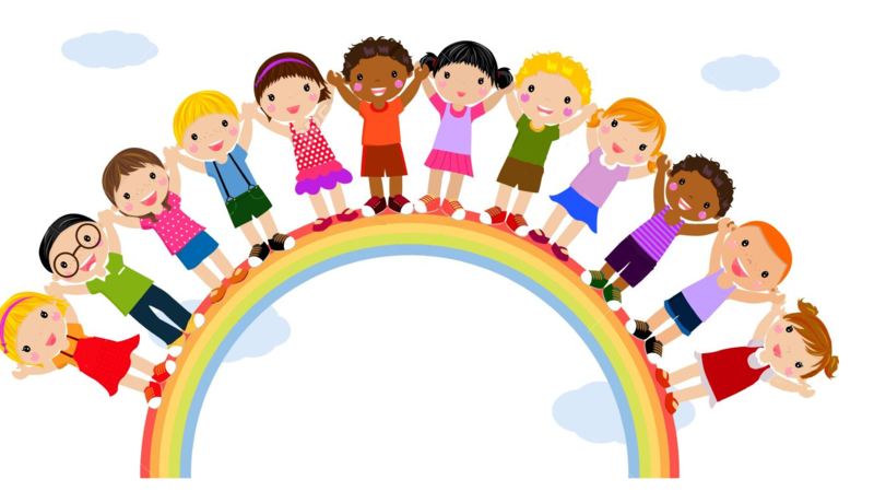 All types of kids standing on a rainbow