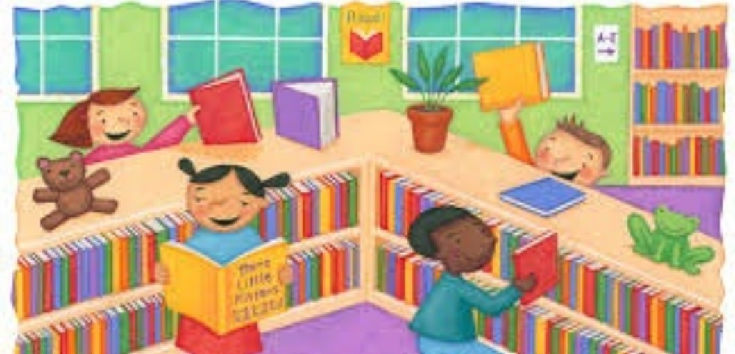 Illustration of students at a library holding up books, looking for books, and smiling