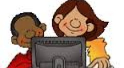 Illustration of boy and girl looking at a computer
