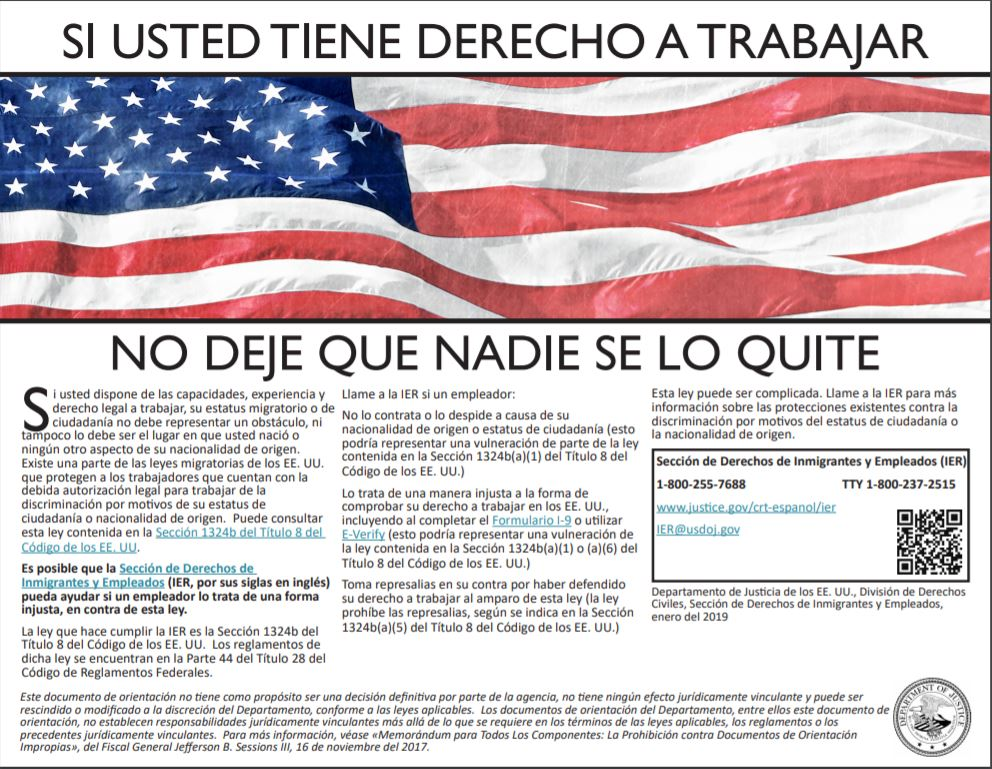 E-Verify Poster Spanish