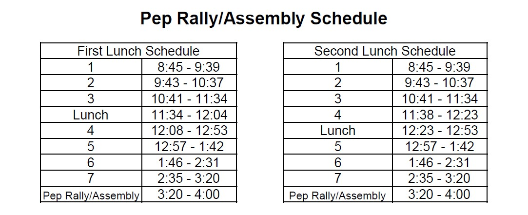 Pep Rally/Assembly Bell Schedule