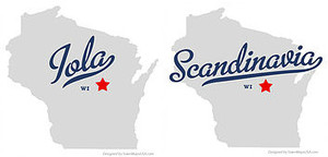 Iola Scandinavia written on top of the state of Wisconsin