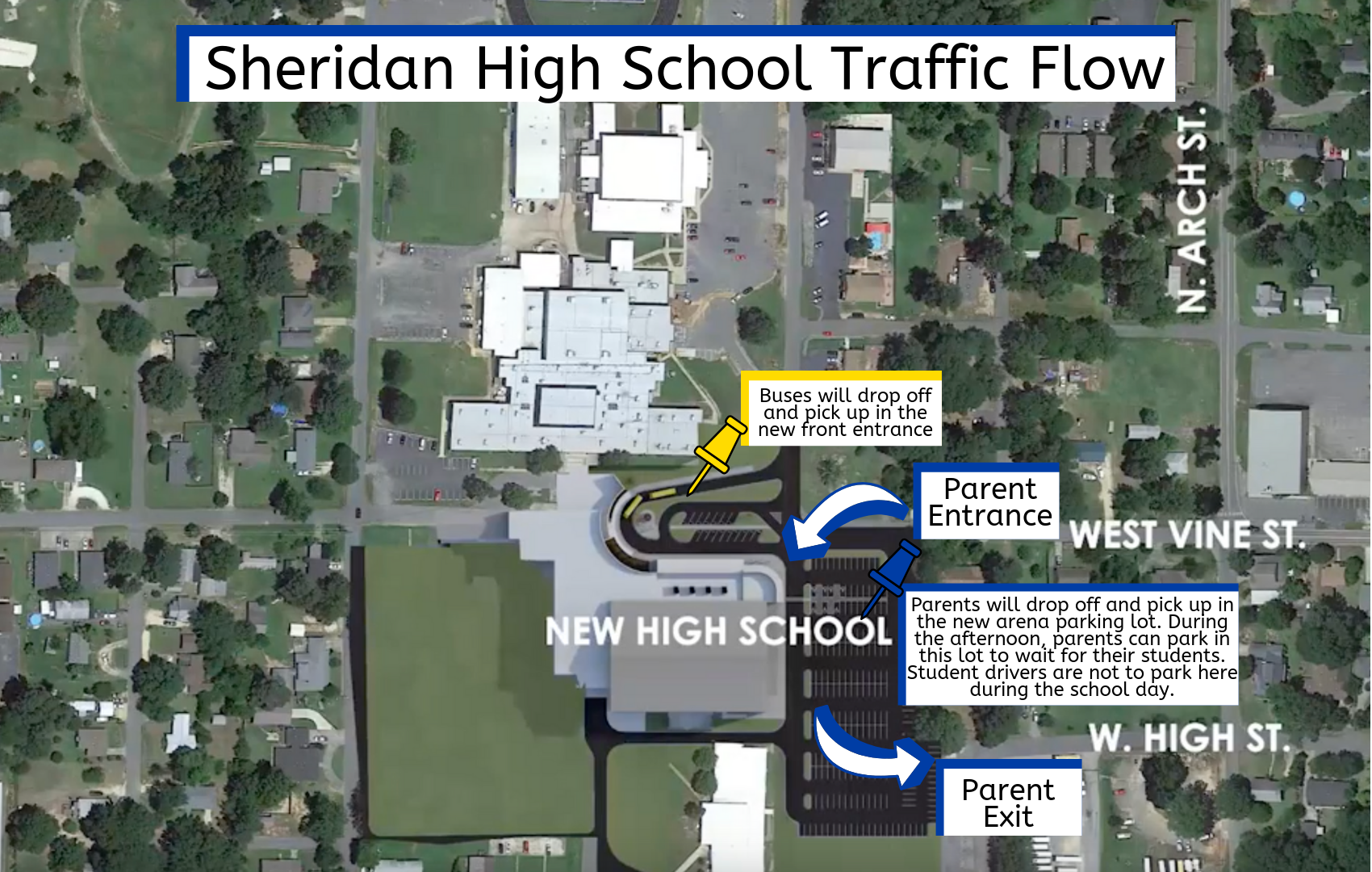 SHS parents will drop off and pick up students in the new arena parking lot
