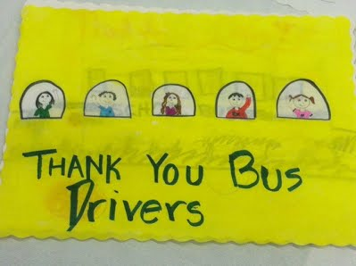 Thank you bus drivers hand drawn picture