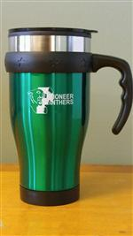 Green Insulated Coffe Mug with White Text and Logo