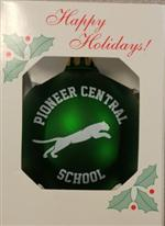 Green Christmas Tree Ornament with White Text and Logo