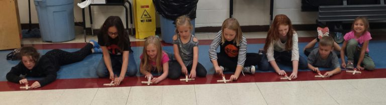 Students setting up their EAGLE catapults