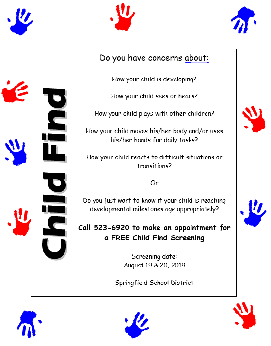 Flyer for Child Find