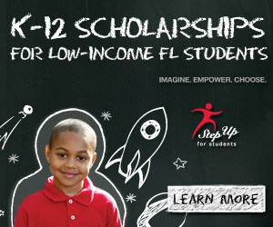 K-12 Scholarships for low-income FL students imagine. Empower. Choose Step up for Students Logo with a learn more button