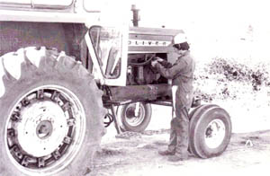 Black and white photo of a tractor