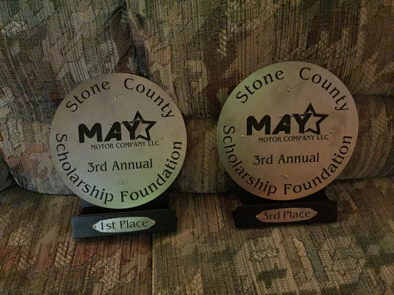 First and Third place trophies for Stone County Scholarship Fund