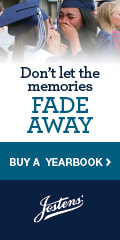Don't let the memories Fade Away. Buy a yearbook. Jostens logo.