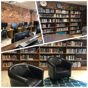 pictures of computers, reading chairs and shelves of books in the high school library.