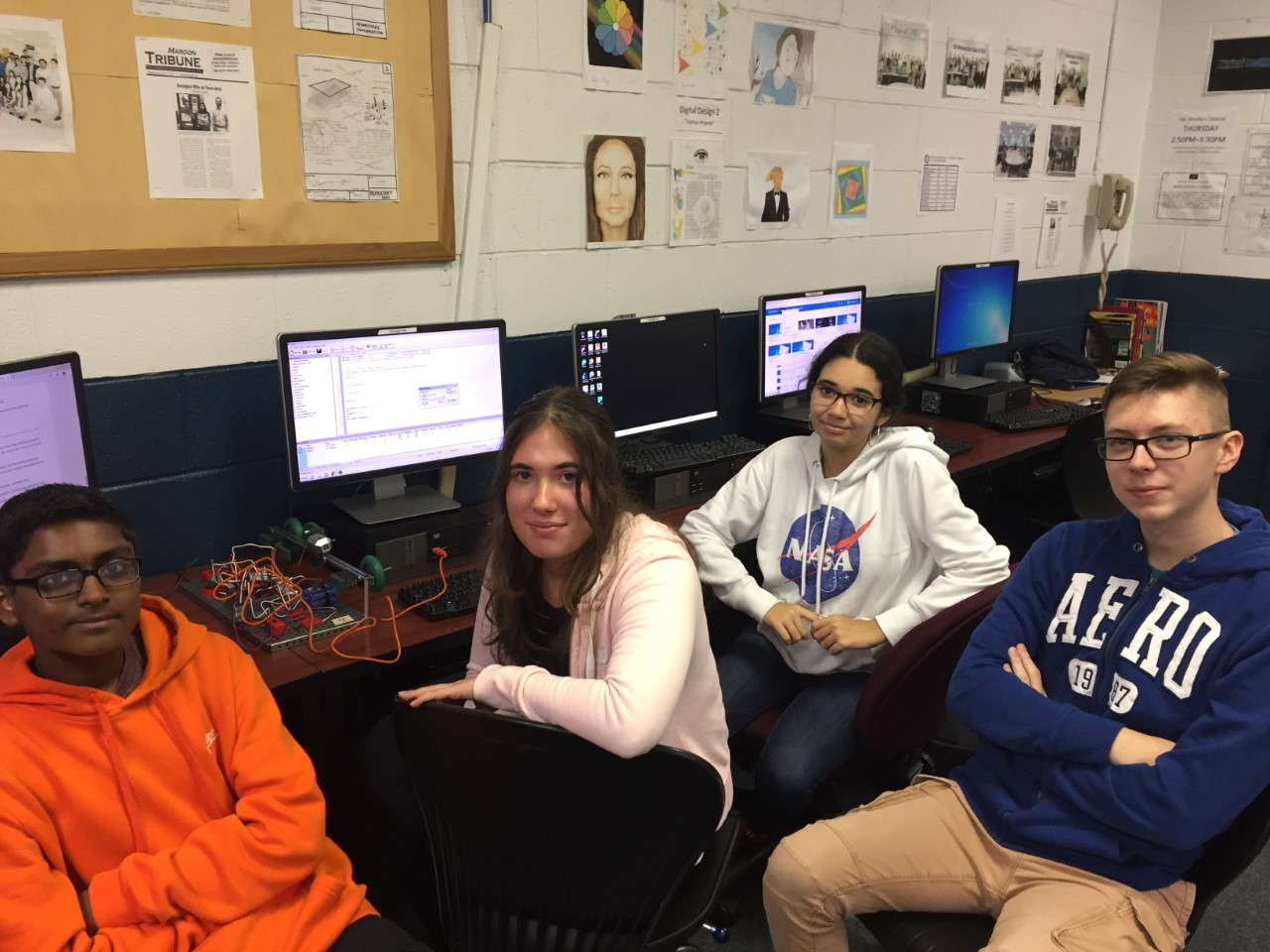 Students sitting at computers