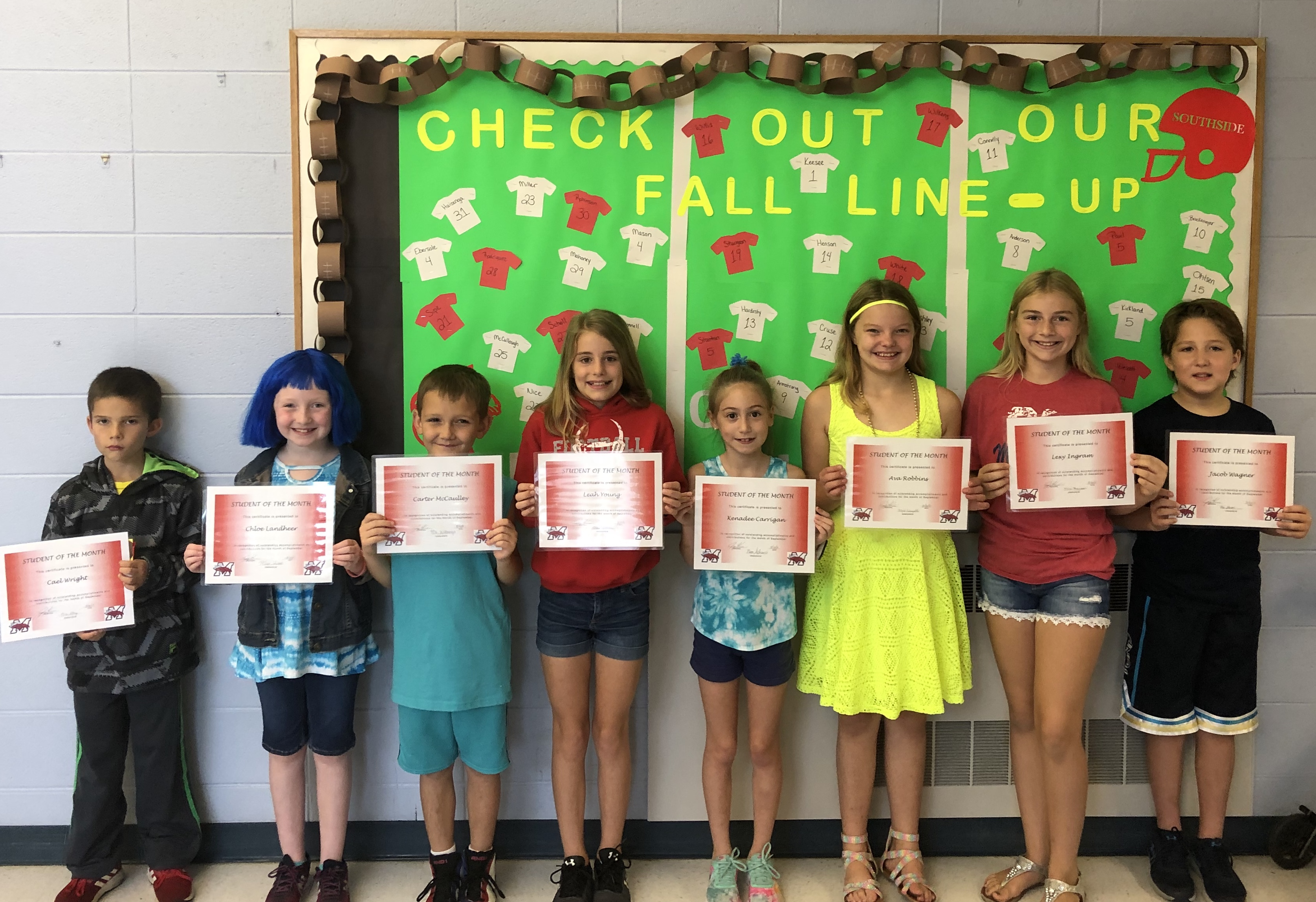 Students of the month for September
