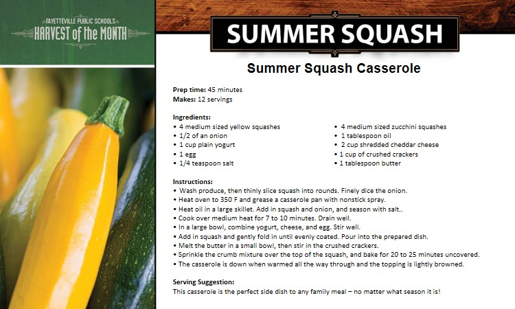 Summer Squash Casserole Recipe Card - Harvest of the Month