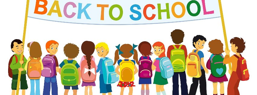 Back to School picture of animated characters under a Back to School banner