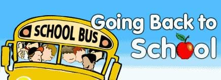 """Going Back to School."" Picture of School Bus."