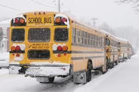 School bus with snow on it