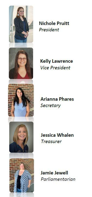 Pictures of the PTO Board Members in order: Nichole Pruitt, President; Kelly Lawrence, Vice President; Arianna Phares, Secretary; Jessica Whalen, Treasurer; Jamie Jewell Parliamentarian.