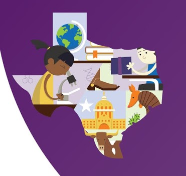 State of Texas filled with cartoon drawings of a boot, books, globe, person opening a box, armadillo, state capitol building, Cow, and someone looking through a microscope