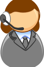 Cartoon of person wearing headset