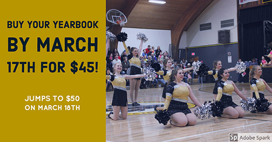 By your yearbook by march 17th for $45 Jumps to $50 on march 18th