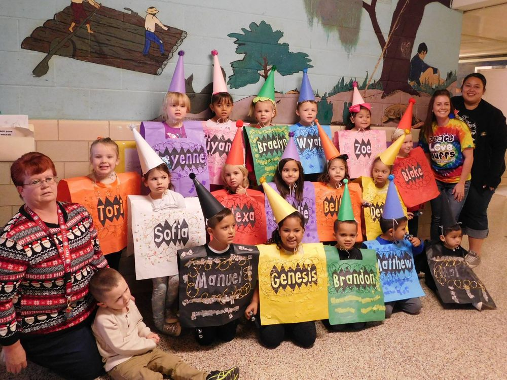 Students dressed up as crayons