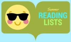 Summer Reading lists graphic with a sun wearing sunglasses