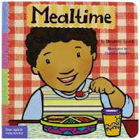 Cartoon kid eating a meal with the words Mealtime over his head
