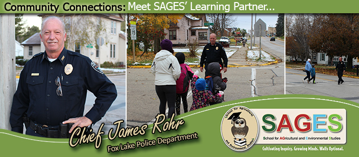 SAGES' November 2019 Learning Partner: pictures of Fox Lake Police Chief Rohr.