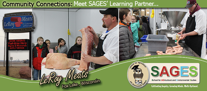 Graphic showing photos of SAGES learners visiting Leroy Meats for AG Day tour.