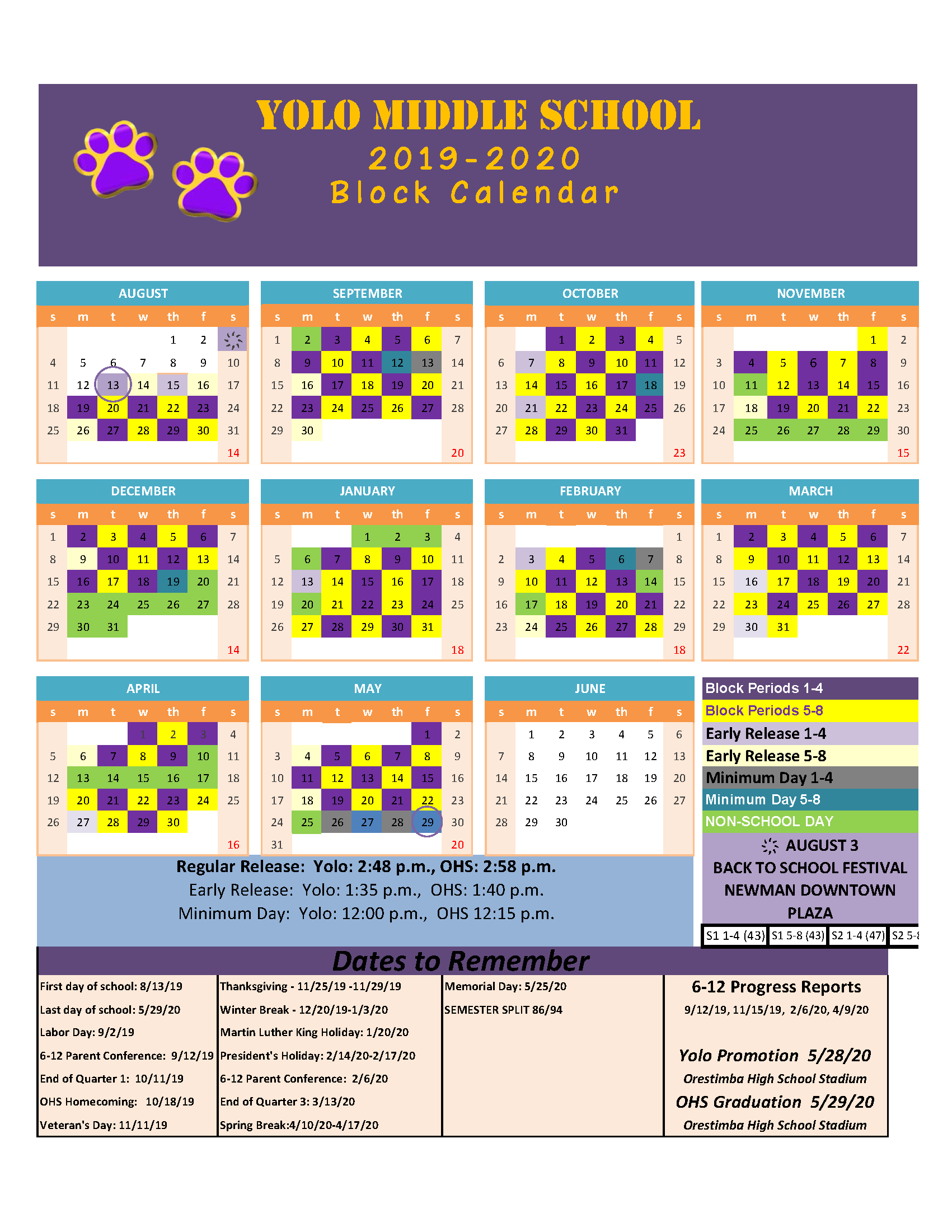 Yolo Purple-Gold Block Schedule 2019-20